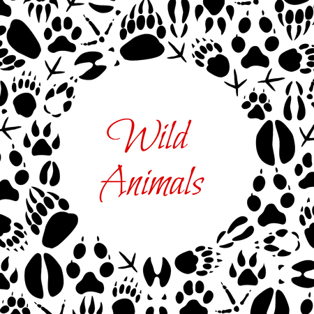 Animals and birds footprints poster for zoo or hunt design. Vector paw tracks of wild bear, fox or wolf and hare, boar or elk and deer hoof imprints or crow and sparrow claws Illustration