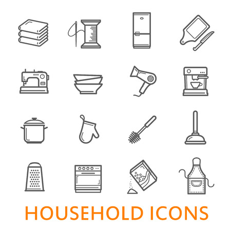 Household items in thin line art icons. Vector isolated symbols set of books, needlework needle and thread or hairdryer, kitchen utensils and tools for house cleaning or dish cooking pans and cutlery Standard-Bild - 109735861