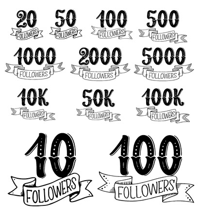 social net followers numbers in lettering. Vector calligraphic text of form ten to thousand social account followers in doodle sketch with ribbons and flourish retro calligraphy Illusztráció