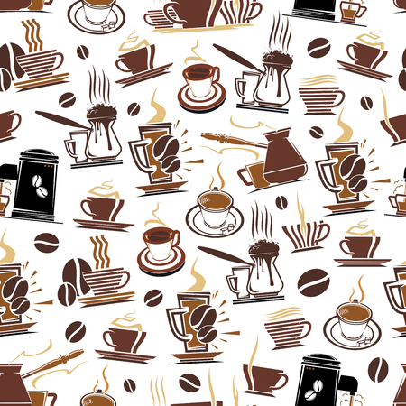 Coffee pattern background for coffeehouse or cafe. Vector seamless design of coffee makers, cups and beans, hot espresso, americano or cappuccino and chocolate mug for cafeteria