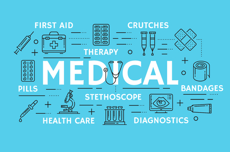 Medical thin line art symbols for medicine and pharmacy. Vector poster of first aid kit, pharmaceutical treatments x-ray, stethoscope or thermometer, microscope and syringe with pills and patch Çizim