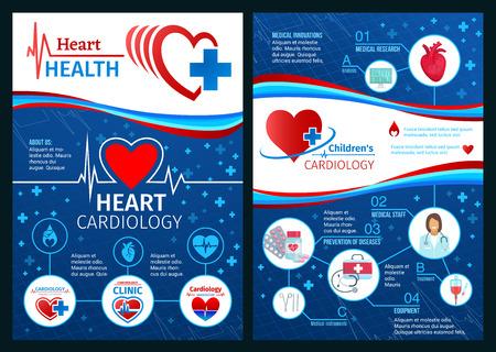 Broschüre zur Herzgesundheitsbroschüre oder zur medizinischen Klinik. Vektordesign des Kardiologenarztes mit Stethoskop-, Cardio-Pillen-Arzneimitteln oder Kardiogramm- und Herz-Kreislauf-Krankheitsprävention Vektorgrafik