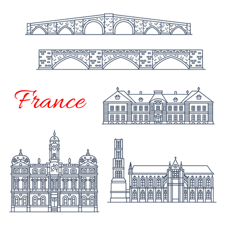France architecture landmarks and famous historic buildings thin line icons. Vector facades If Episcopal municipal , Saint Etienne cathedral and Martial bridge in Limoges or Lyon city tower