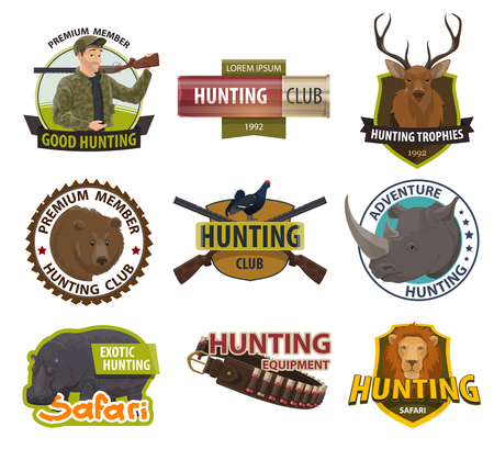 Hunter club member badges or hunting open season icons. Vector premium shields set of hunter with rifle gun or bullet, wild animal trap, African safari lion and bear or hippopotamus