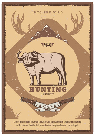 Hunting club retro poster for hunter society or open season. Vector vintage design of wild buffalo ox with mountains and elk or deer antlers with hunter knife for hunt adventure Ilustração