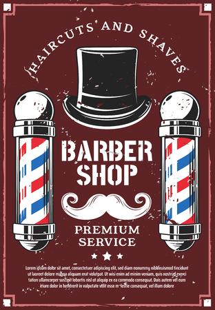 Barbershop Retro-Werbeplakat für Haarschnitt und Bart rasieren Premium-Salon. Vektor Vintage Design von Friseur oder Friseur Studio von Pol Beschilderung, Schnurrbärte und Gentleman Zylinder Hut