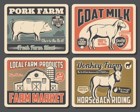 Farm market retro posters of farmer cattle meat and farming products. Vector vintage design of wheat barn, pig pork or goat milk for dairy food and donkey for horseback riding