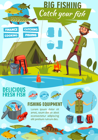 Big fishing cartoon poster for fisher man catching fish on lake or river. Vector fisherman camping tent and fire, pike, marlin or tuna and salmon with trout on rod hook