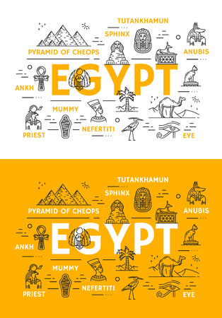 Egypt travel landmarks and ancient culture thin line icons. Vector poster of Egyptian Cheops pharaoh pyramids, sphinx or Tutankhamen and Nefertiti princess, Anubis and ankh or eye sign
