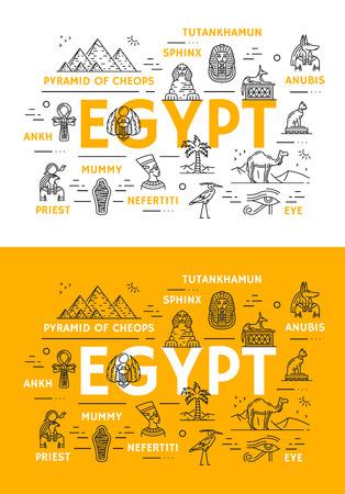 Monuments de voyage en Egypte et icônes de fine ligne de culture ancienne Affiche de vecteur de pyramides de pharaon Cheops égyptien, sphinx ou princesse Toutankhamon et Néfertiti, Anubis et ankh ou signe de l'oeil