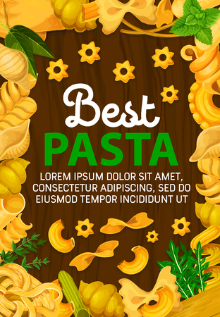 Poster di pasta italiana, cucina italiana o menu del ristorante di pasta. Disegno vettoriale di ravioli tradizionali, gnocchi o ditalini e maccheroni rotelle, tortellini o oregghiette e risoni alle erbe