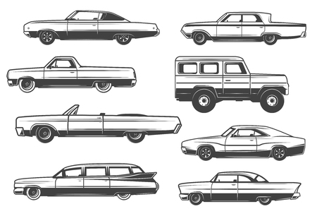 Retro cars and vintage rarity automobile models. Vector luxury limousine or cabriolet with retractable top, crossover pickup truck and sport car sedan or wagon in thin line icons