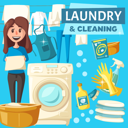 Laundry and home cleaning poster of woman homework for clean house. Vector cartoon housewife with washin machine and laundry in hands or drying, detergent bubbles with sponge and glass polisher Illustration