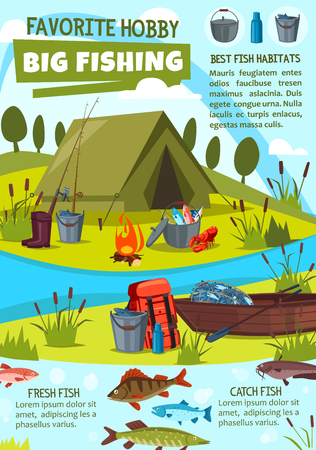 Fishing hobby cartoon poster of fisher camping tent and fish catch equipment and tackles. Vector design of wooden boat on river or lake and bowler with pike, catfish or trout and lobster crab