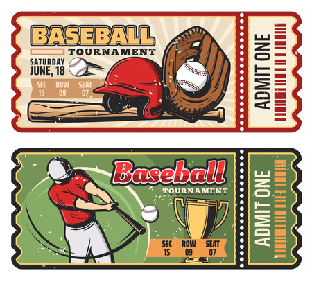 Baseball sport game retro tickets for championship or tournament. vector vintage design of baseball player with bat and ball or golden victory cup and safety helmet and cut line Illustration