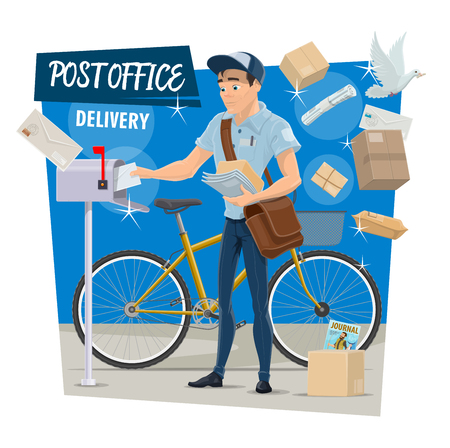 Postman on post mail delivery poster. Vector design of postal doves, man from postage office with bicycle and courier bag put parcels, newspapers or journals and envelopes in postbox
