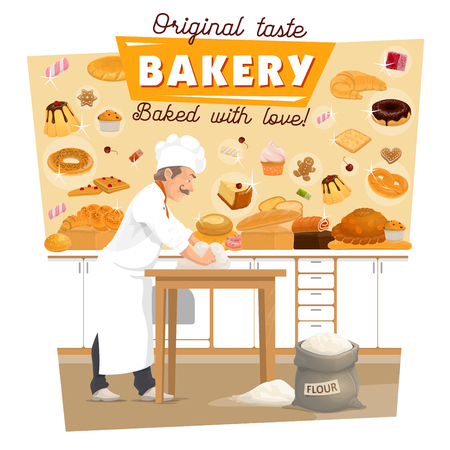 Baker knead dough on bakery kitchen for bread and pastry. Vector man profession with flour bag baking wheat bread or croissant or ciabatta, sweet marmalade or caramel candy and cakes for patisserie