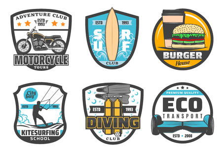 hobby and sport or leisure activity icons. Vector badges for motorcycle adventure club, surfing or kitesurfing and scuba diving school, eco transport of electric scooter or hoverboard and fast food