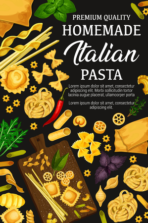 Italian pasta cuisine, pasta cooking. Vector spaghetti, ravioli or gnocchi, macaroni and fettuccine, farfalle pasta with basil and pepper ingredients for Italy restaurant menu or recipe theme Illustration