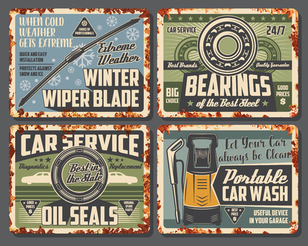 Car service and auto spare parts and accessory shop card or posters with rust effect. Vector rusty design for auto bearing of mechanic repair, winter wiper blades for windshield and portable car wash Foto de archivo - 109651033