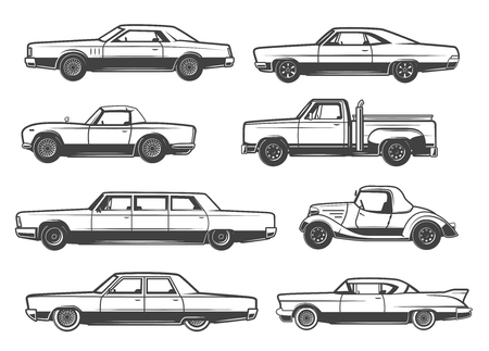 Retro cars and vintage automobile models. Vector thin line icons of mini car with retractable hood or cabriolet, collector antique taxi cab or pickup truck and sportcar with limousine Banco de Imagens - 108968477