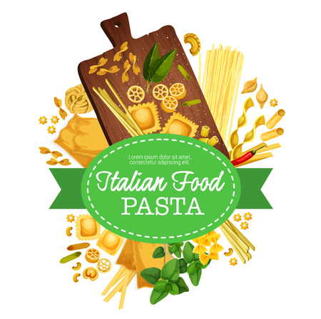 Italian paste poster for Italy traditional food. Vector design of pasta spaghetti, ravioli or lasagna and fettuccine with basil, pepper or rosemary spice for cooking recipe or restaurant menu 일러스트