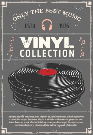 Vinyl retro poster for music shop or audio appliances of players, earphones or headphones and audio systems. Vector vintage advertisement design vinyl disks and musical notes