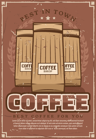 Coffeeshop retro poster of best coffee in paper packs. Vector vintage design arabica, Kenyan or Guatemalan coffee products for espresso, americano or cappuccino or cafeteria and cafe menu Stock Illustratie