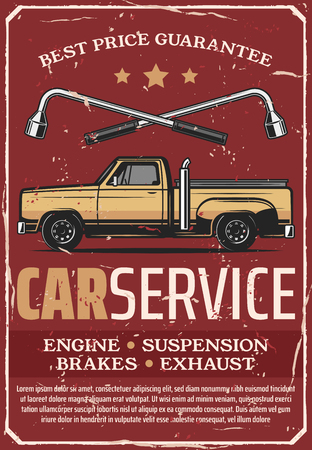 Car service and auto mechanic repair center retro vector. Vintage design of pickup tow truck and lug wrenches, automobile garage and transport diagnostic station