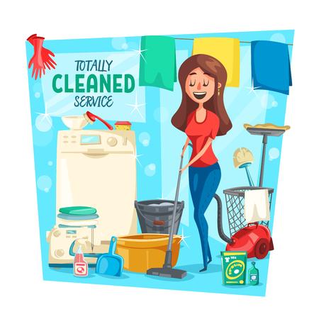 Servicio de limpieza a domicilio, vector. Mujer ama de casa de dibujos animados con ropa en lavadora, aspiradora o esponja y pulidor o detergente trapear el piso Ilustración de vector