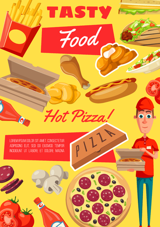 Fast food poster of fastfood meals and snacks for cafe, restaurant or bistro menu. Vector pizza delivery man with hot dog sausage, hamburger or cheeseburger and chicken leg barbecue with ketchup