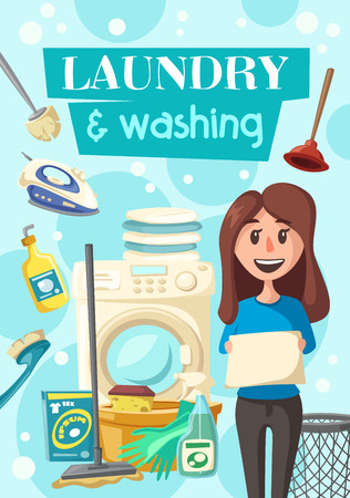 Laundry and washing poster of housewife for clean house. Vector cleaning items of woman with washing machine, sponge and polisher or detergent soap and plunger for bathroom and toilet cleaning Vetores