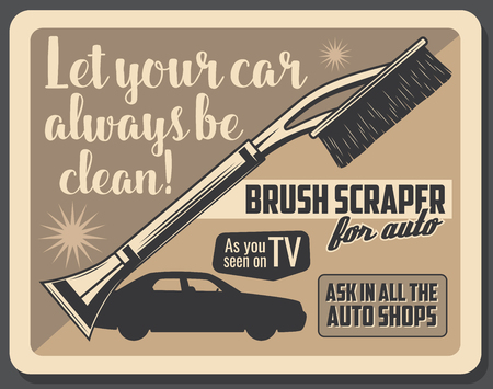 Car accessory advertisement poster for TV shop windshield brush and glass scraper. Vector vintage design for auto service or transport garage station and spare parts store