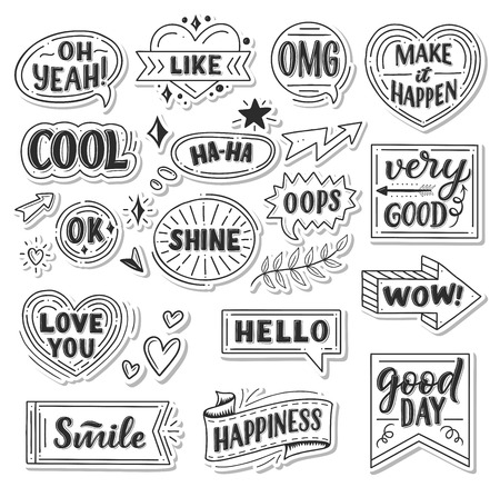 Quotes and sound blasts stickers. Vector sketch doodle icons, ribbons or arrows and banners or chat messages for Yeah, smile or hello and happiness greeting card or Wow and Oops with Like heart and Ok Çizim