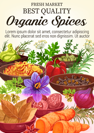 Organic herbs and spices poster for herbal seasonings and cooking ingredients. Vector wasabi, ginger or horseradish and onion, bay and sage with nutmeg or parsley, farm arugula and paprika in bowl