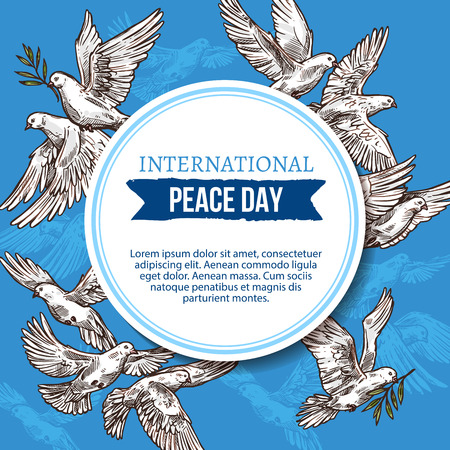 International peace day greeting card of sketch doves with olive branch in beak flaying in blue sky. Vector design for UN holiday celebration of 21 September or World Peace Day