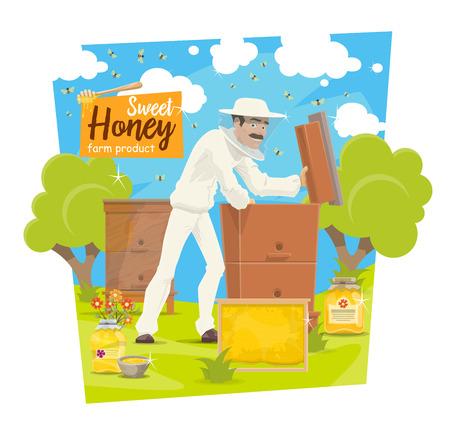 Apicultor en colmenar tomando miel de colmena, apicultura de vector. Vector de dibujos animados apicultor hombre en traje de protección con panal o tarro de miel y enjambre de abejas
