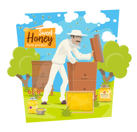 Beekeeper at apiary taking honey from hive, vector beekeeping. Vector cartoon beekeeper man in protective outfit with honeycomb or honey jar and bees swarm Banco de Imagens - 109651048