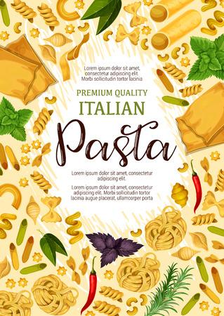 Poster di pasta italiana per pubblicità di prodotti premium o ristorante di cucina italiana. Disegno vettoriale di lasagne, fettuccine o spaghetti e penne con basilico, rosmarino e peperoncino per cucinare la pasta Vettoriali