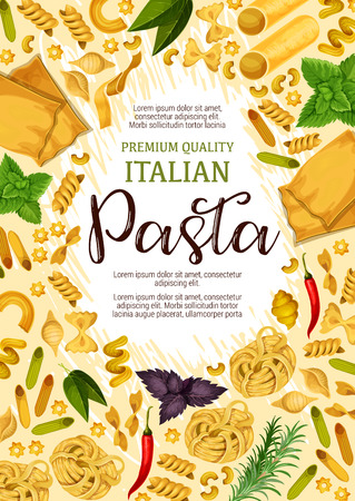 Italian pasta poster for premium product advertisement or Italy cuisine restaurant. Vector design of lasagna, fettuccine or spaghetti and penne with basil, rosemary and chili pepper for pasta cooking Illustration