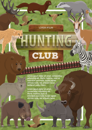 Hunting club poster of wild animals and birds or bullet for rifle gun. Vector hunt open season design of bear, African safari cheetah panther or buffalo and rhinoceros or ducks and wolf