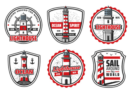 Lighthouse at sea or ocean icons for seafarer safe sailing and travel adventure. Vector nautical symbols of ship anchor and helm for safety light beacon for sailor navigation and sailor sea spirit