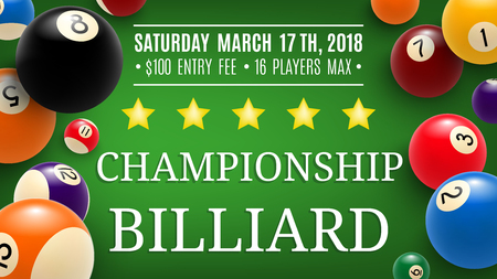 Billiard championship announcement. Vector design of snooker pool balls with numbers on green table with golden stars, sport game team or league contest
