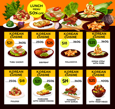 Korean cuisine traditional food menu. Vector lunch offer discount for tubu chorim, bibimpab or majjaccva and kimchi stew with pork, pullogs or green onion pancakes with garlic and beef with vegetables