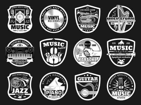 Music icons for recording studio or record label and jazz festival or karaoke club. Vector musical instruments of synthesizer, piano or vinyl disk and orchestra harp for concert or music studio