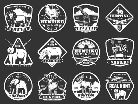 Hunting club or hunter society icons of wild animals and birds, hunt open season and African safari adventure. Vector rifle gun and knife, lion, grouse or elk antlers and zebra