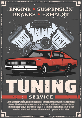 Car tuning service and auto mechanic repair center poster. Vector vintage design of retro advertisement for automobile transport engine valves and motor diagnostic in garage station