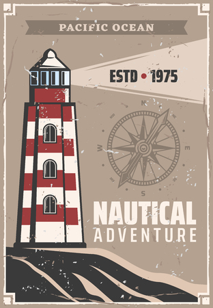 Lighthouse retro poster with navigation compass or wind rose. Vector nautical or marine vintage design for seafarer ship safe sailing and ocean travel adventure Ilustração
