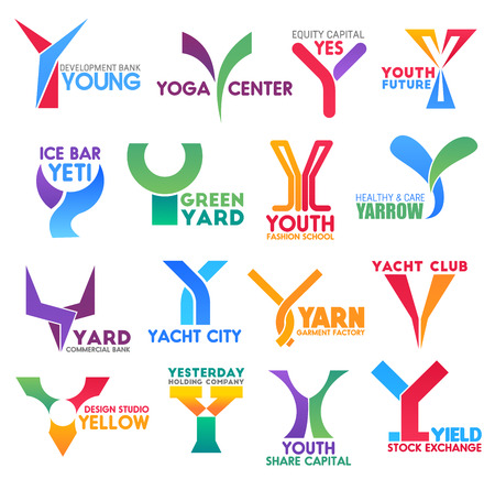 Letter Y for brand identity or company corporate design in bank development, yoga center or sport yacht club and garment, factory. Vector Y for bar or stock exchange market and design studio