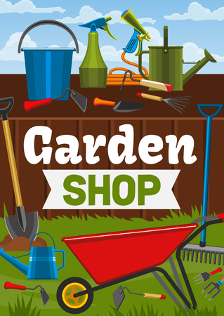 Garden shop, gardening tools and gardener items. Vector wheelbarrow, watering can or rake and spade tools. Garden cultivation or planting agriculture 일러스트